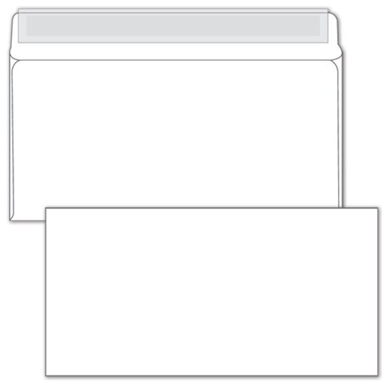 Конверт паперов. Е65 (евро) (110х220мм) білий СКЛ, (0+0) з відривною смужкою
