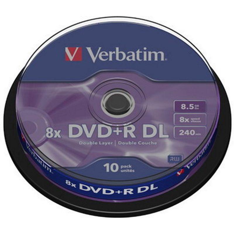 Диск DVD+R (Cake 10) 8. 5 Gb Verbatim DL 8x