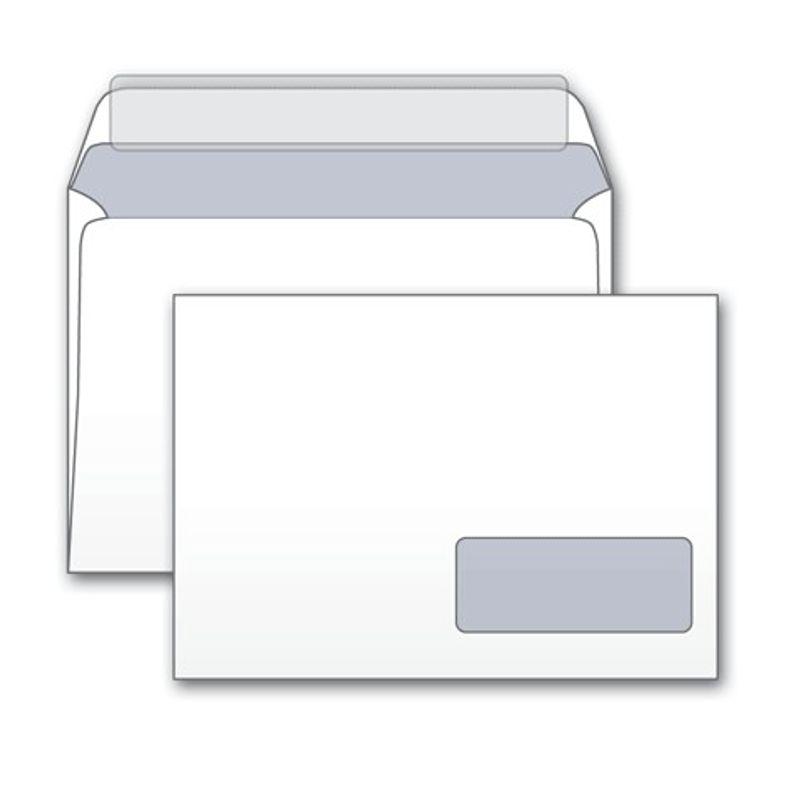 Конверт паперов. С5 (162х229мм) білий СКЛ, (0+0) з вікном з відривною смужкою