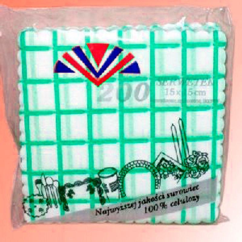 Серветки сервірув. 1-о сл. 15х15см зелена клітинка(200шт)
