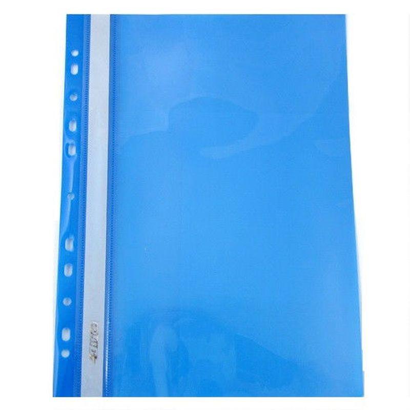 Швидкозшивач пластик прозор. верх с Перф. 4Office А4 синій