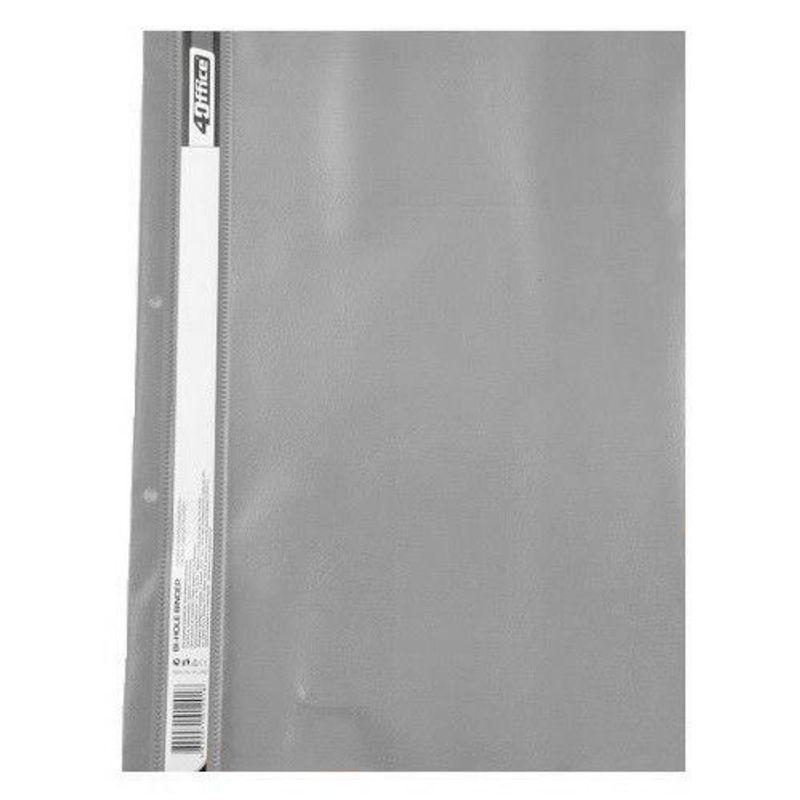 Швидкозшивач пластик прозор. верх с Перф. 4Office А4 серый