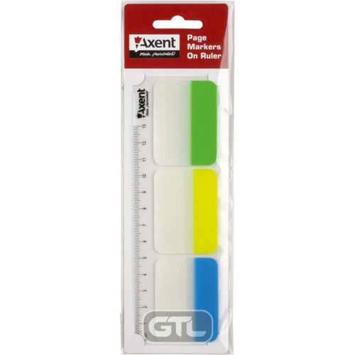 Закладки пластикові 38х45мм 3кол. (30шт. ) з білим краєм и лінійкой, посилені